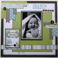 Scrapbook layout ~ I like the layout but not for a baby. by queen