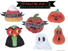 Cute Halloween decorations. Retro, old fashioned looking. Downloadable cut-outs. Pumpkin,candy corn,owl,ghost.