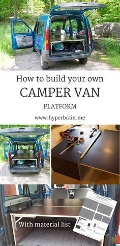 DIY camper van platform – Turn your car into a mini camper DIY Camper Van Platform – How to build a cheap and flexible solution to convert your Renault Kangoo or similar car to a mini camper without removing seats or making any permanent modifications. Mini Camper, Opel Vivaro Camper, Small Camper Vans, Small Campers, Micro Campers, Mercedes Sprinter Camper, Hyundai H1 Camper, Renault Kangoo Camper, Minivan Camping