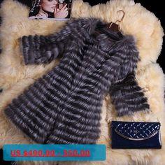 Real Fox Fur Coat 3/4 Sleeve Autumn Winter Genuine Women Fur Trench Outerwear Jacket Lady Long Overcoat VK3006