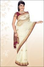 Off White Embroidered Party and Festival Banarasi Silk Saree