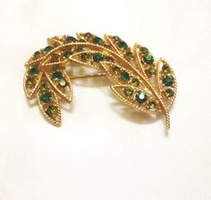 Vintage Green Rhinestone Leaf Brooch, Paisley Shape, Goldtone