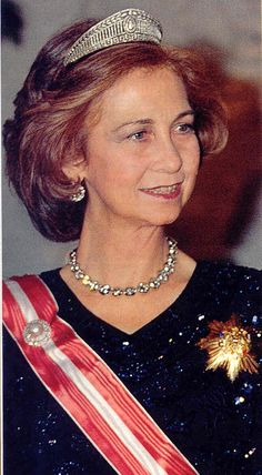 Sofia as Queen of Spain, wearing the tiara that started out life in Prussia
