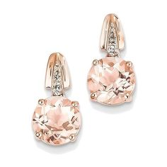 14K Rose Gold Diamond and Morganite Round Post Dangle Earrings (2.030 BRL) ❤ liked on Polyvore featuring jewelry, earrings, long earrings, dangle earrings, 14k earrings, diamond earrings and 14k rose gold jewelry