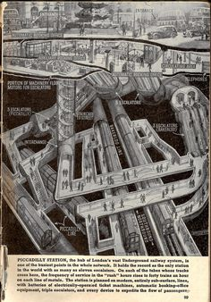 "Brilliant cutaway map/diagram of Piccadilly station by Douglas MacPherson, "" has it changed much? London Underground Train, London Underground Stations, Underground Cities, London Map, London Places, Old London, Railway Posters, Travel Posters, Transport Posters"