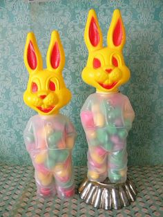 Vintage Pair of Easter Bunny Candy Containers by SongbirdSalvation
