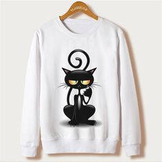 Fox Harajuku Sweatshirt Women Pullover 2016 Casual Animal Print White Hoodies Full Sleeve O-neck Women Clothing Casual Hooded