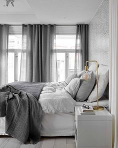 Scandinavian bedroom in a grey palette with soft textiles and golden d. Scandinavian bedroom in a grey palette with soft textiles and golden d. Gray Bedroom, Home Bedroom, Modern Bedroom, Bedroom Decor, Bedroom Ideas, Bedroom Inspo, Design Bedroom, Beautiful Bedrooms For Couples, Scandinavian Bedroom