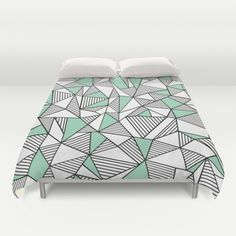 Abstraction Lines with Mint Blocks Duvet Cover #abstract #lines #blocks #black #white #mint #green #geometric #triangles