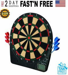 Electronic Dartboard Soft Tip Dart Board Game Play Electric Readouts Sound New Dart Board Games, Electronic Dart Board, Dart Set, Boys Room Decor, National Flag, Games To Play, Electric, How To Apply