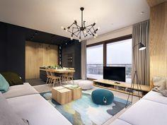 Este apartamento contemporáneo hace estallar con acentos de la turquesa
