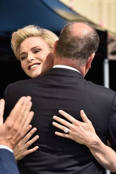 MyRoyals:  Monaco Celebrates the 10th Anniversary of Prince Albert's Accession to the Throne, Day 1, July 11, 2015-Princess Charlene hugs her husband Prince Albert