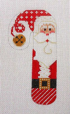 SP.ORDER ~ Danji Designs Classic Candy Cane Santa HP Needlepoint Canvas Ornament