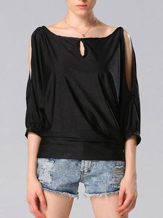 Off The Shoulder Hole Pure Three Quarter Sleeve Loose Shirt Comfortable T-Shirt on buytrends.com