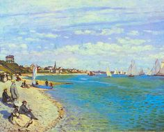 Claude Monet - The Beach at Sainte Adresse Large Canvas Print