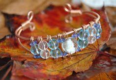 Pulsera cristal bicolor  aluminio,cristal artesanal,alambrismo