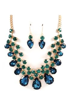 Raileen Necklace Set in Sapphire and Emerald Crystal on Emma Stine Limited