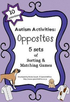 Autism Activities: OPPOSITES Autism Activities, Sensory Activities, Sorting Games, Special Education Teacher, Special Needs Kids, Autism Spectrum, Matching Games, Therapy Ideas, Aba