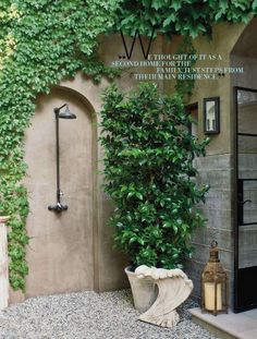 greige: interior design ideas and inspiration for the transitional home : The outdoor shower