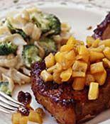 Pork Chops with Golden Apple Raisin Sauce and Broccoli Whole Wheat Mac 'n' Cheddar, 30-Minute Meals   rachaelraymag.com