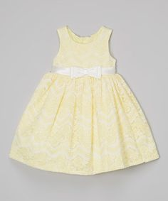 Loving this Yellow Chevron Lace Babydoll Dress - Infant, Toddler & Girls on #zulily! #zulilyfinds