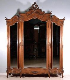 Louis XV Rococo Antique French Armoire Wardrobe Walnut Bookcase   eBay