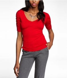 DOUBLE V-NECK RUCHED SLEEVE SWEATER | #Express