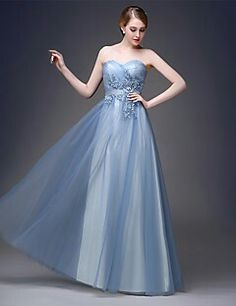 682c86fa523c 2017 Formal Evening Dress A-line Sweetheart Floor-length Tulle with  Appliques Evening Dresses