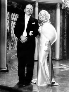 Jean Harlow & Wallace Beery in DINNER AT EIGHT...the Blonde Bombshell on a gorgeous dress and stole.