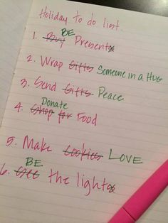 Holiday To Do List by Karynne Boese https://www.facebook.com/dreamliving #Holiday_List #KIndness