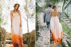 Dye dipped wedding dress- I'm in love with this idea