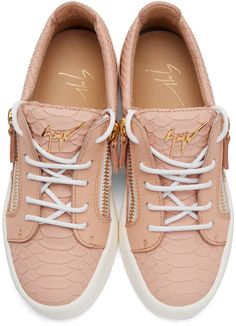 f860d46e9bd Giuseppe Zanotti - Pink Python-Embossed London Sneakers Chaussures De  Baskets Roses