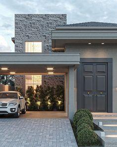Simple Bungalow House Designs, Narrow House Designs, Beautiful House Plans, Dream House Plans, House Window Design, Minimal House Design, Mansion Designs, Model House Plan, Front Porch Design