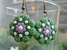 Green and Lavender Mandala Earrings $17