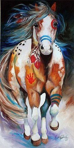 BRAVE ~ the INDIAN WAR HORSE - by Marcia Baldwin from Animal Wildlife Art Gallery Wow What a beautiful horse. I love these horses - this would not scare me though. Native American Horses, Native American Paintings, Native American Nursery, Native American Drawing, American Indians, Native American Tattoos, Native American Decor, Native American Warrior, Running Art