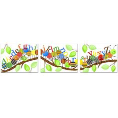 Set of 3 ABC Happy Caterpillar Alphabet Boys Girls by ToadAndLily, $15.00