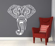 Mandala Elephant Wall Decals Hippie Decal Yoga Vinyl Sticker Boho Bedroom T77 in Home, Furniture & DIY, Home Decor, Wall Decals & Stickers | eBay