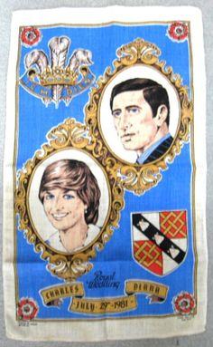 Tea Towel Royal Wedding Charles Diana 1981 Linen Blue Dish Towel