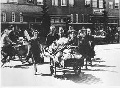 Amsterdam, Netherlands, Jews on their way to the assembly point for the deportation, 1943.