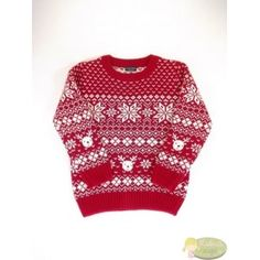 Norvégmintás piros pulóver