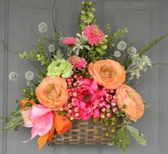 Tangerine and Raspberry Summer Floral by melissafloraldesigns, $98.00