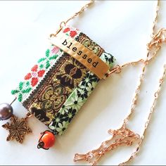 "New!! Handmade ""Blessed"" Tapestry Boho Necklace I just love these vintage ribbons  - their patterns and colors playing together well. I hand stitched them to a thick backing and added the ""blessed"" tag - which is a hammered metal rose gold. To complete the pendant is fun beading and charms! It hangs from a 26 inch chain. One of a kind!  Pinup Brooches Jewelry Necklaces"