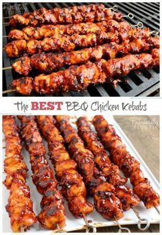 The Best BBQ Chicken Kebabs This isn't your ordinary barbecue chicken. In fact, these BBQ Chicken Kebabs are the best barbecue chicken I've tasted. Best Bbq Chicken, Best Chicken Recipes, Great Recipes, Dinner Recipes, Favorite Recipes, Dinner Ideas, Bbq Ribs, Grilling Recipes, Cooking Recipes
