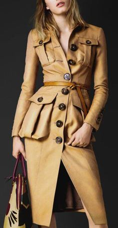 Turn-Down Collar Long Sleeve Button Design Belted Coat ==