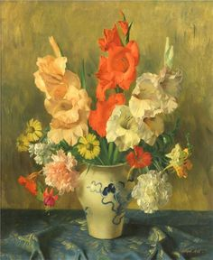 "Joseph Jost (Austrian, b. 1888-?) - ""Gladiolas in a Blue and White Vase"" - Oil on canvas"
