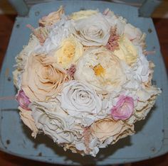 Dried / Preserved Bridal Bouquet by http://www.etsy.com/shop/MaisonDeLaCroix. Roses, Peonies, Astilbe, Hydrangeas, Ranunculus, Garden Roses.