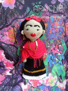 Frida Kahlo amigurumi doll with hot pink shawl