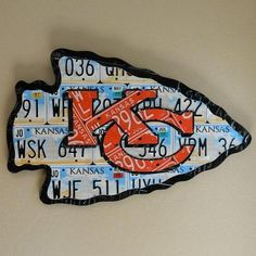 Kansas City Chiefs made from expired Kansas license plates...i wonder if they are aware that the Chiefs are in Missouri...