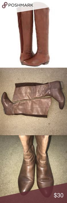 steve madden boots steve madden creation boots. pull on knee high. minor wear and tear. has some dark spots but boots were made that way for a vintage look. size 6, brown Steve Madden Shoes