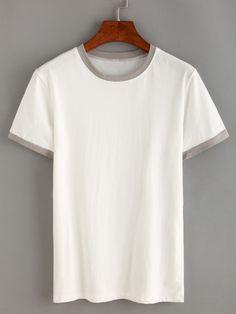 Contrast Trim White T-shirt